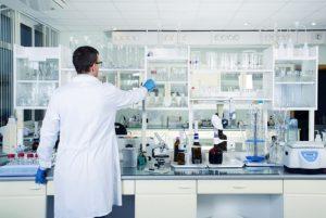 at a lab