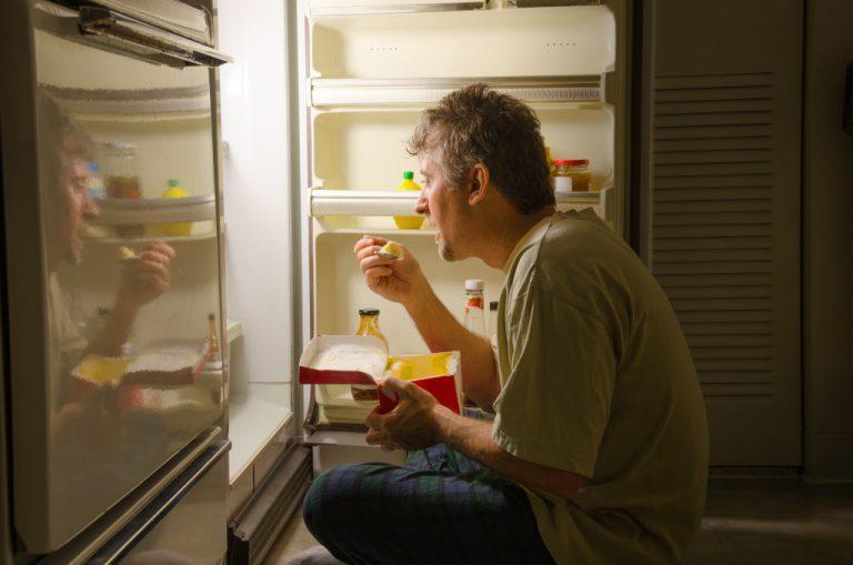 binge eating infront of fridge