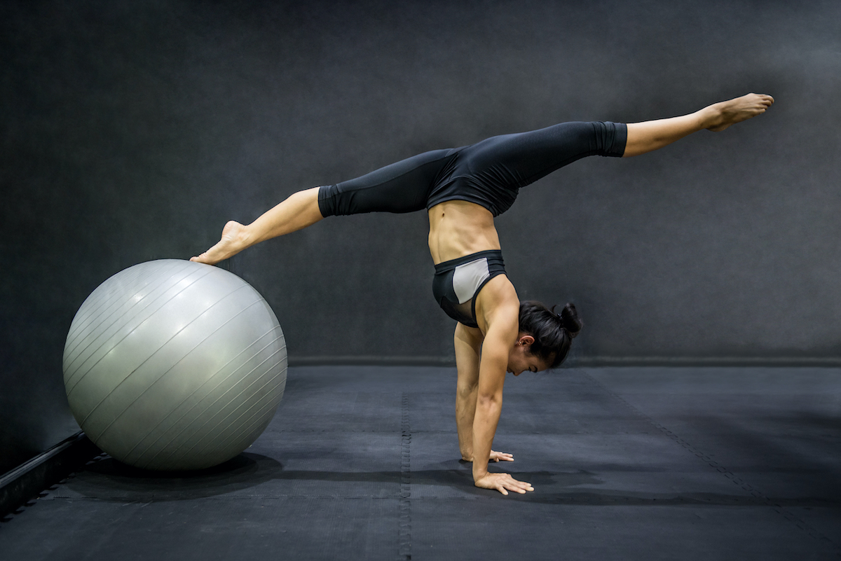 woman using a fitness ball