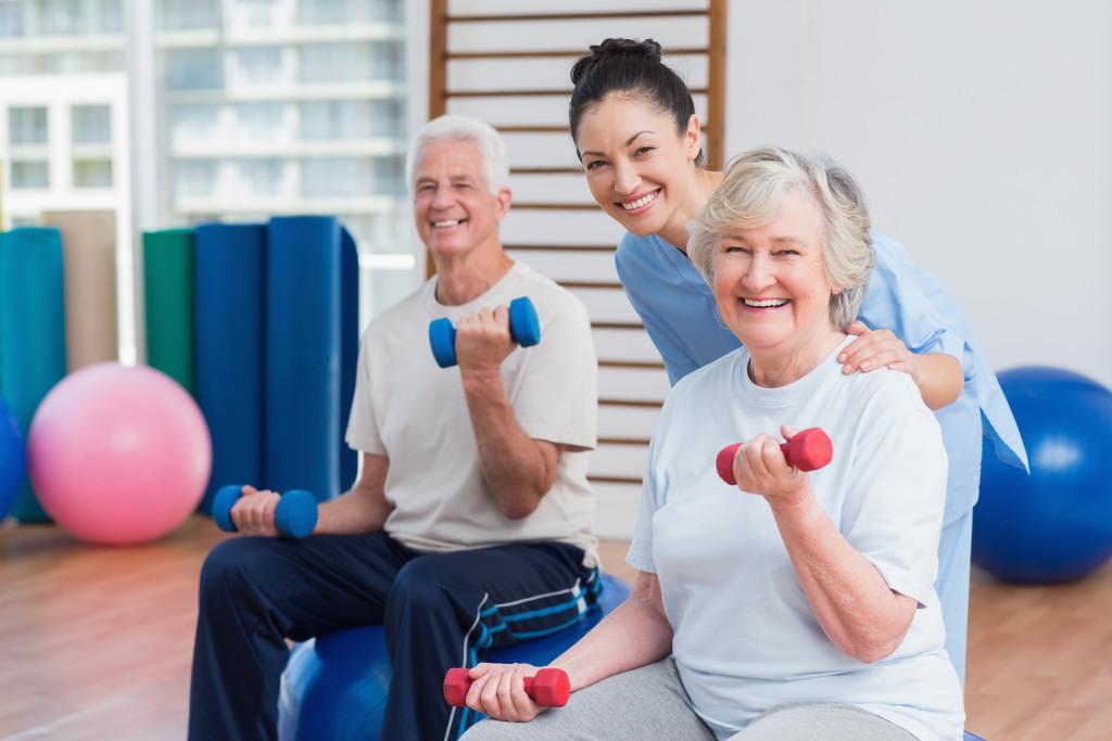 Elderly exercising
